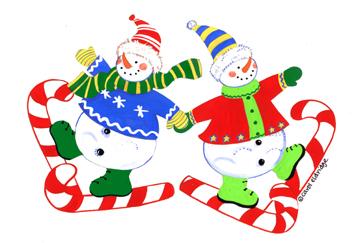 2 snowmen c canes