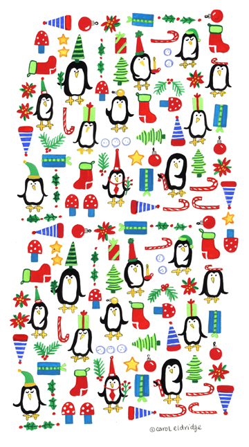 Holiday penguin pattern