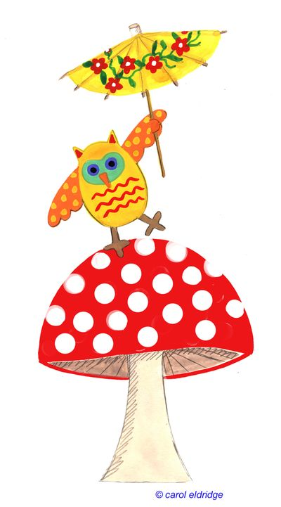 Owl on mushroom