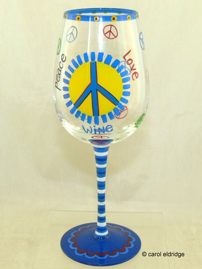 Peace wine glass