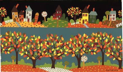 Fall village and trees