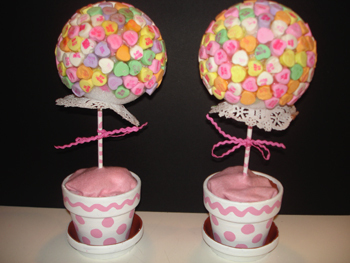 Candy Heart Topiaries